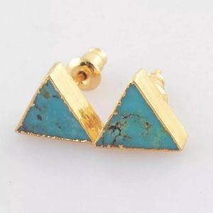 Jewelry - Genuine Turquoise 14k Plated Gold Triangle Studs